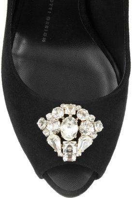Giuseppe Zanotti Crystal-embellished suede peep-toe pumps