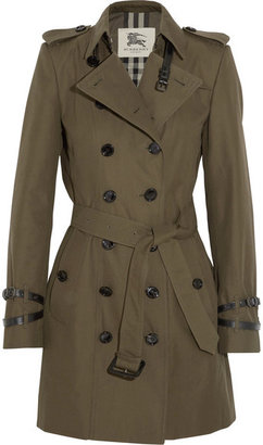 Burberry - Queensborough Mid-length Cotton-gabardine Trench Coat - Dark green $2,195 thestylecure.com
