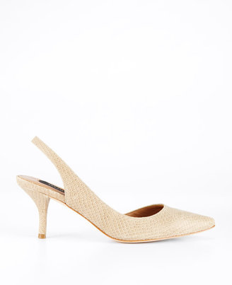 Ann Taylor Ally Exotic Embossed Leather Kitten Heel Slingbacks