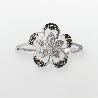 Sterling silver crystal & marcasite flower ring