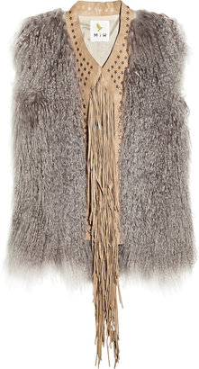 MiH Jeans Fringed shearling and suede gilet