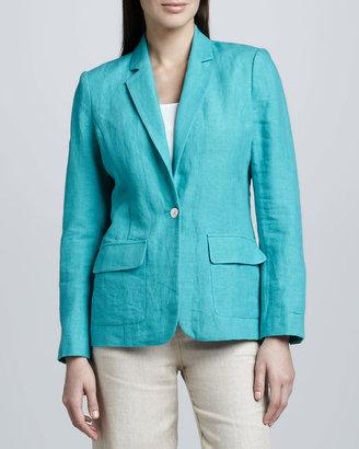 Neiman Marcus One-Pocket Linen Blazer