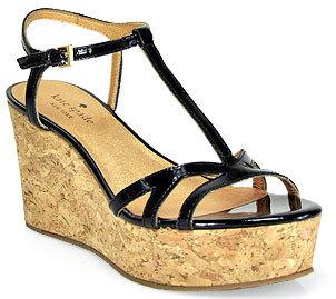Kate Spade Theodora - Black Patent Leather Cork Wedge Sandal