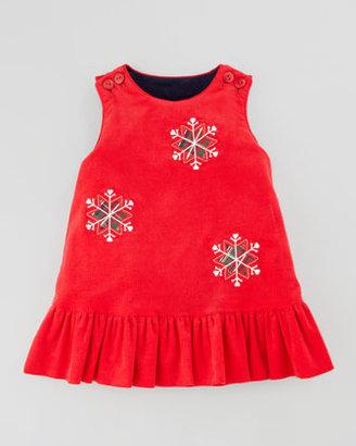 Florence Eiseman Snowflake/Apples Reversible Corduroy Dress, 12-24 Months