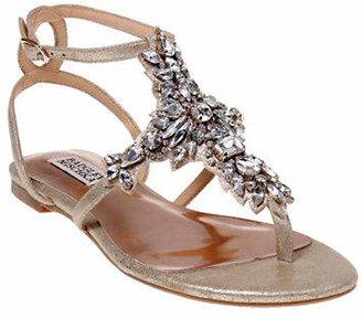 Badgley Mischka Cara II Embellished Metallic Leather Sandals