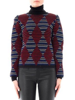 MSGM Diamond intarsia-knit stripe sweater