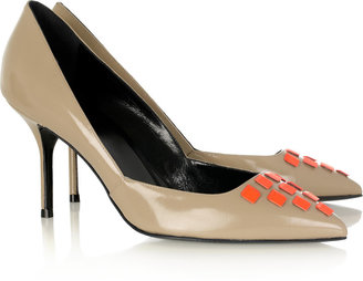 Pierre Hardy Cube-detailed patent-leather pumps
