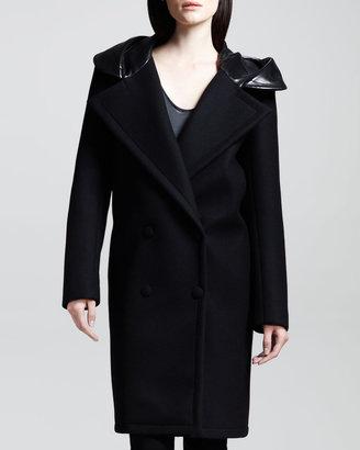 Alexander Wang Bonded Felt Hooded Car Coat, Asphalt