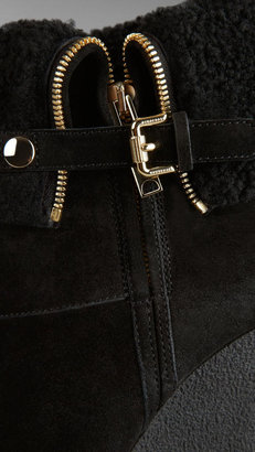 Burberry Shearling-Lined Suede Wedge Boots