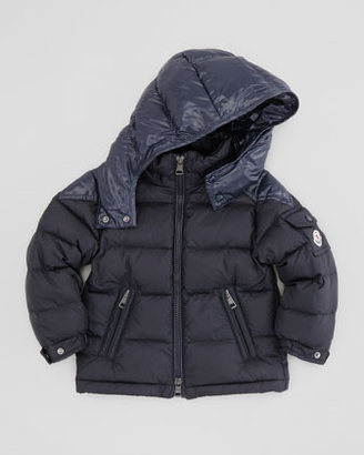 Moncler Quilted Puffer Jacket with Contrast Hood, Navy, Sizes 2-6