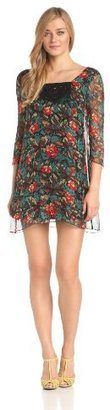 Anna Sui Women's Fauve Floral Print Gauze Dress