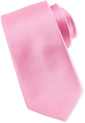 Neiman Marcus Solid Bias Ribbed Silk Tie, Pink