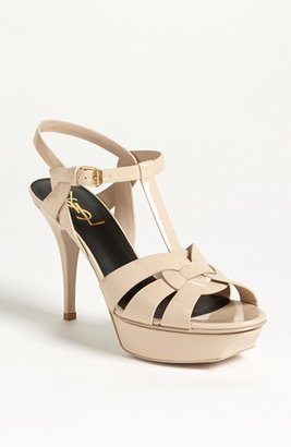 Women's Saint Laurent 'Tribute' T-Strap Sandal $895 thestylecure.com