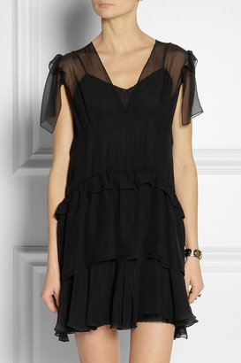 Miu Miu Tiered silk-chiffon mini dress
