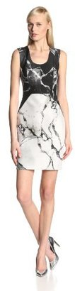 Robert Rodriguez Women's Carrara Neoprene Marble Print Sleeveless Dress