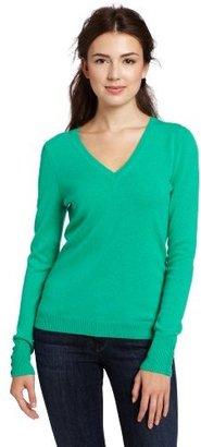 Christopher Fischer Women's 100% Cashmere V-Neck Button Cuff Detail Sweater