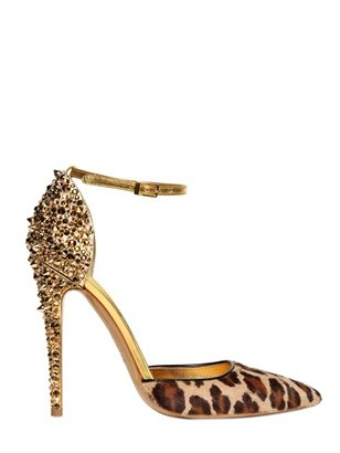 DSquared 110mm Lalique Pony Leopard Studs Pumps