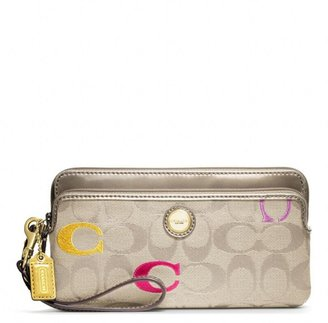 Coach Poppy Embroidered Signature Double Zip Wallet
