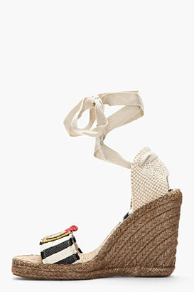 Marc Jacobs Navy & White Striped Espadrille Wedge Sandals