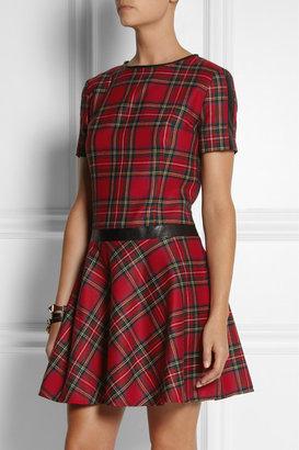 Karl Lagerfeld Penny faux leather-trimmed tartan wool dress