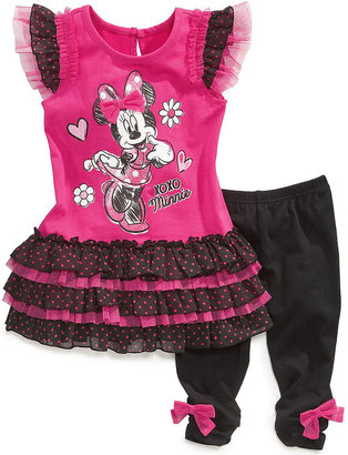 Nannette Little Girls' Minnie Mouse Dotted Tunic & Leggings Set