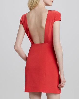Tibi Jewel-Neck Open-Back Dress