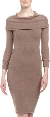 BCBGMAXAZRIA Oversized-Collar Sweater Dress, Brown Ash