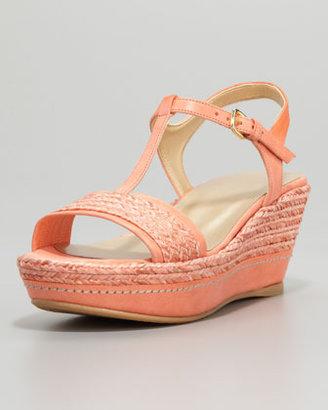 Stuart Weitzman Flatty Raffia Braided Wedge Sandal, Peach