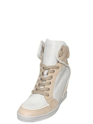 Hogan 90mm Two Tone Calfskin Wedge Sneakers