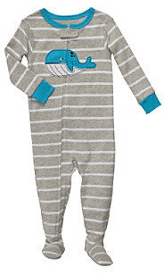 Carter's Baby Boys' Grey Striped Whale Footie Pajamas