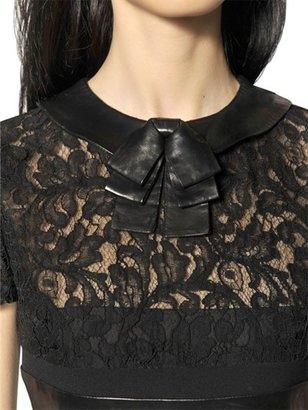 Saint Laurent Nappa Leather And Viscose Dentelle Dress