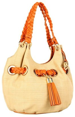 MICHAEL Michael Kors Braided Grommet Soft Straw Large Shoulder Tote (Natural/Tangerine) - Bags and Luggage