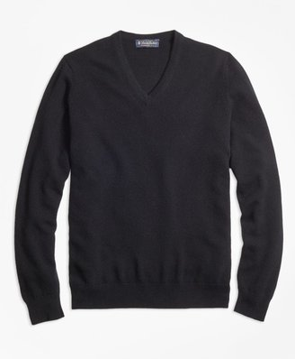 Brooks Brothers Cashmere V-Neck Sweater-Basic Colors
