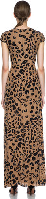 Jenni Kayne Printed Double Georgette Silk Gown in Camel & Black