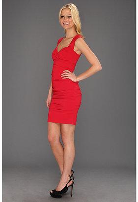 Nicole Miller Satin Crepe Tucked Dress
