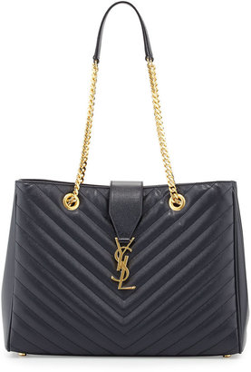 Saint Laurent Monogramme Matelasse Shopper Bag, Navy