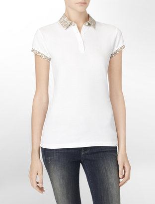 Calvin Klein Leopard Trim Polo Shirt