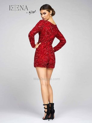 Ieena for Mac Duggal - 1036 High Neck Shorts In Red