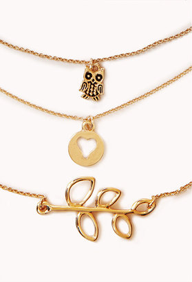 Forever 21 Owl Charm Necklace Set