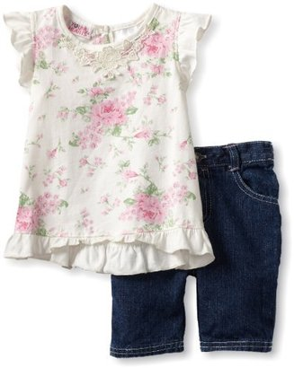Young Hearts Girls 2-6X 2 Piece Flower Knit Shirt With Denim Bermuda