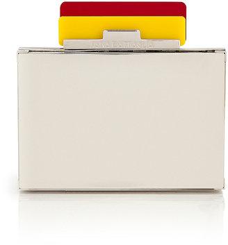 Sara Battaglia Yellow/Red/Mirrored Metal Box Clutch