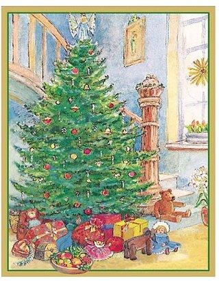 Caspari Tree At Base of Stairs Christmas Cards