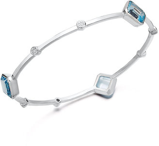 Townsend Victoria Sterling Silver Bracelet, Blue Topaz (10-1/2 ct. t.w.) and Diamond Accent Bangle