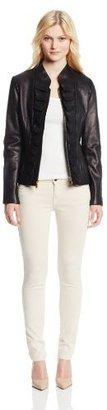 T Tahari Women's Kendrick Ruffle Front Leather Jacket