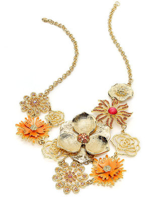 Style&Co. Necklace, Gold-Tone Orange and Pink Flower Bib Necklace