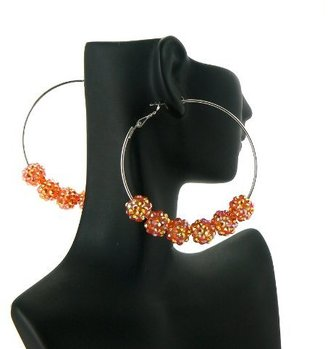 Orange Basketball Wives Poparazzi Earrings with Six 10mm Iced Out Disco Balls Lady Gaga Paparazzi