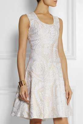 Issa Metallic-print stretch-jersey dress