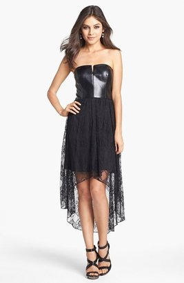 Adrianna Papell Mixed Media High/Low Dress (Online Only)
