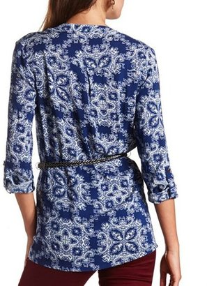 Charlotte Russe Paisley Print Belted Tunic Top