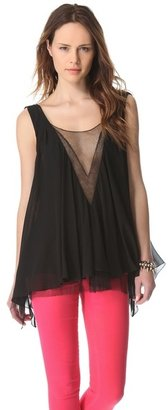 Faith Connexion Draped Silk Top with Lace